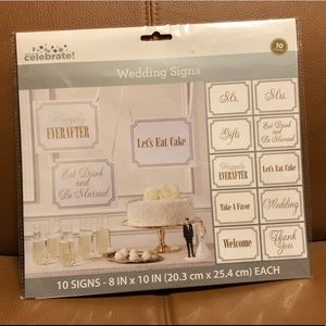 NEW 10 silver and gold Wedding Signs cardstock